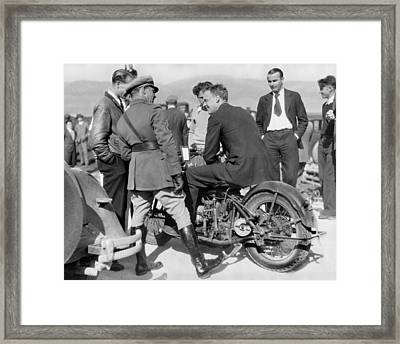 Lindbergh Rides Motorcycle Framed Print by Underwood Archives