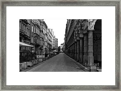 Lined Up In Hamburg Mono Framed Print by John Rizzuto