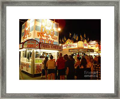 Lines At Hot Dog On A Stick Framed Print by Paddy Shaffer
