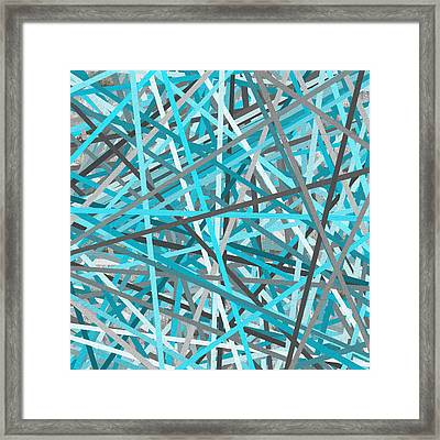 Link - Turquoise And Gray Abstract Framed Print by Lourry Legarde