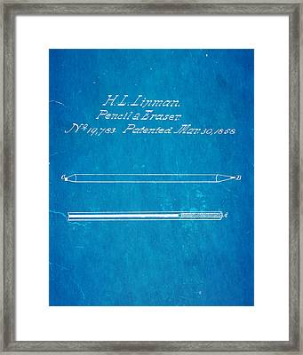 Linman Pencil And Eraser Patent Art 1858 Blueprint Framed Print by Ian Monk