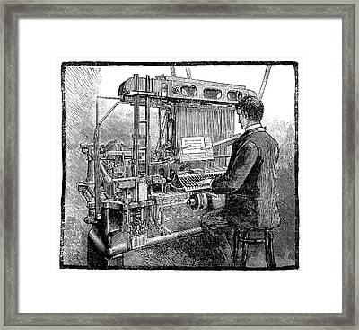 Linotype Typesetting Machine, 1889 Framed Print by Science Photo Library