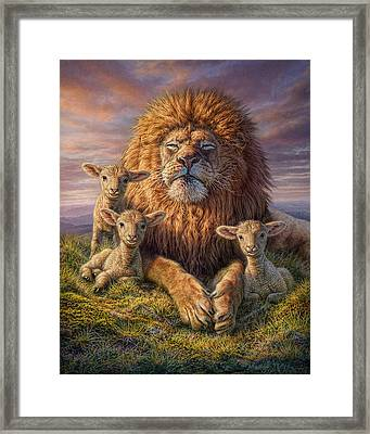 Lion And Lambs Framed Print by Phil Jaeger