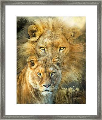 Lion And Lioness- African Royalty Framed Print by Carol Cavalaris