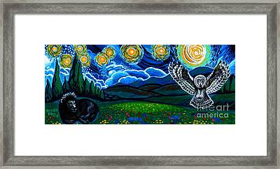 Lion And Owl On A Starry Night Framed Print by Genevieve Esson