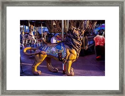 Lion Carrousel  Framed Print by Garry Gay