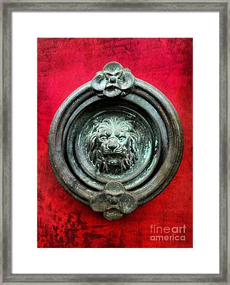 Lion Door Knocker On Red Door Framed Print by Amy Cicconi