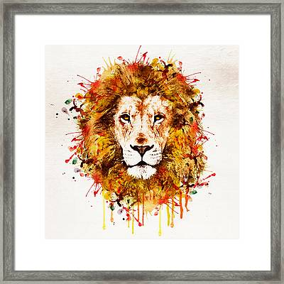 Lion Head Watercolor Framed Print by Marian Voicu