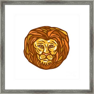 Lion Head Woodcut Linocut Framed Print by Aloysius Patrimonio