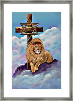 Lion Of Judah At The Cross Framed Print by Bob and Nadine Johnston