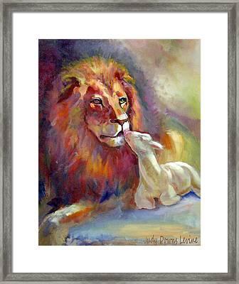 Lion Of Judah Lamb Of God Framed Print by Judy Downs