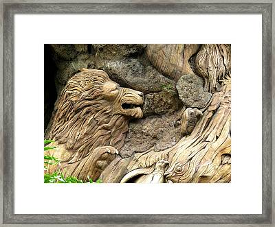 Lion On The Tree Of  Life Framed Print by Zina Stromberg