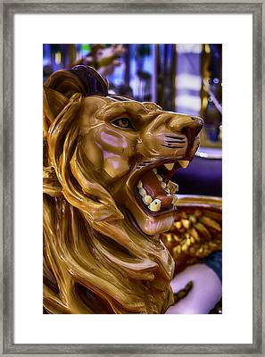 Lion Roaring Carrousel Ride Framed Print by Garry Gay