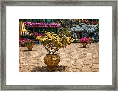 Lion Vases At Golden Temple In Dambulla Framed Print by Jenny Rainbow