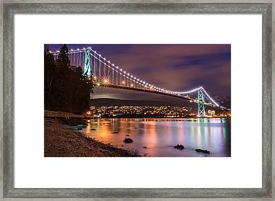 Lions Gate Bridge At Night Framed Print by James Wheeler