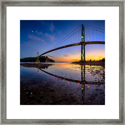Lions Gate Bridge Reflections Framed Print by Alexis Birkill