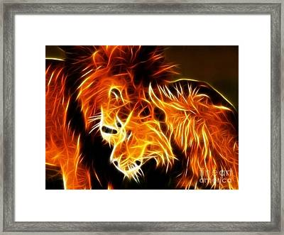 Lions In Love Framed Print by Pamela Johnson