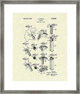 Lipstick 1944 Patent Art Framed Print by Prior Art Design