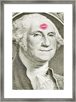 Lipstick Kiss On One Dollar Bill Framed Print by Bryan Mullennix