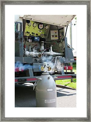 Liquid Nitrogen Delivery Framed Print by Dr P. Marazzi