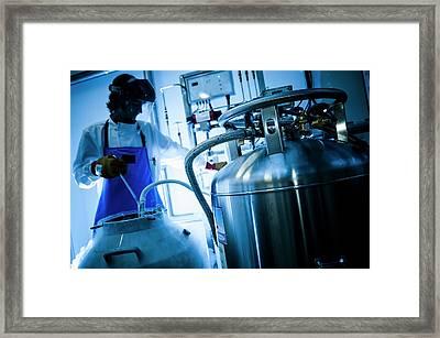 Liquid Nitrogen Transfer Framed Print by Dan Dunkley