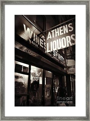 Liquor Shop - New York At Night Framed Print by Miriam Danar