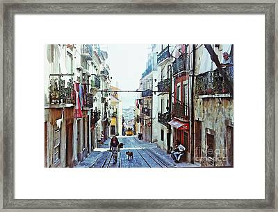Lisboa Tram Route Framed Print by Sarah Loft