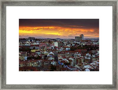 Lisbon At Sunset Framed Print by Carlos Caetano