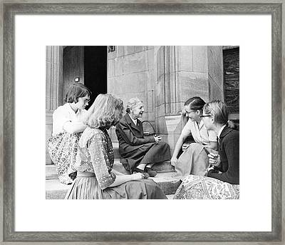 Lise Meitner With Students Framed Print by Emilio Segre Visual Archives/american Institute Of Physics