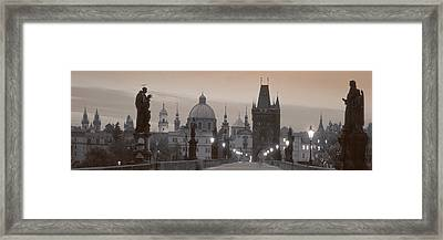 Lit Up Bridge At Dusk, Charles Bridge Framed Print by Panoramic Images
