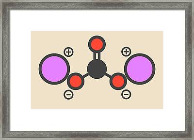 Lithium Carbonate Molecule Framed Print by Molekuul