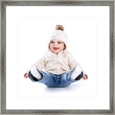Little Baby Having Fun Framed Print by Anna Omelchenko