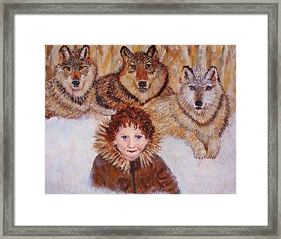 Little Bernard And The Wolves Framed Print by The Art With A Heart By Charlotte Phillips