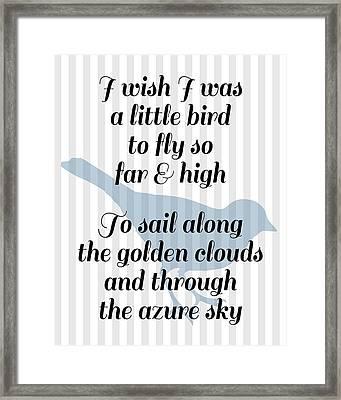 Little Bird Nursery Poem Framed Print by Flo Karp