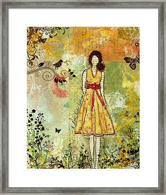 Little Birdie Inspirational Mixed Media Folk Art By Janelle Nichol Framed Print by Janelle Nichol