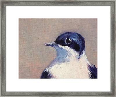 Little Blue And White Framed Print by Nancy Merkle