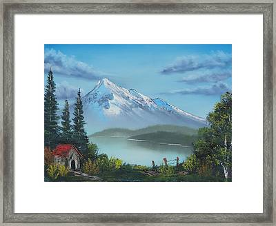 Little Cabin At The Lake Framed Print by Bob Williams
