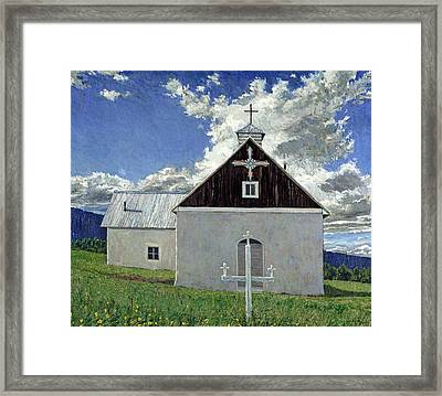 Little Church At Ocate Framed Print by Steven Boone