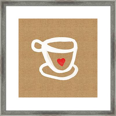 Little Cup Of Love Framed Print by Linda Woods