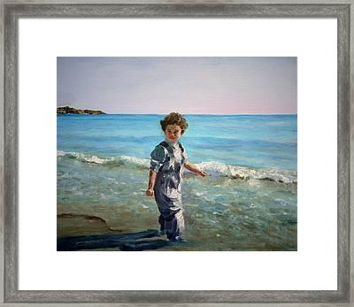Little Fisherman Framed Print by Olga Yug