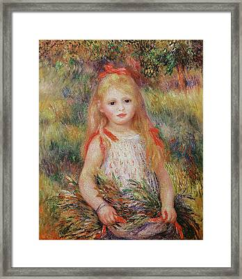 Little Girl Carrying Flowers Framed Print by Pierre Auguste Renoir