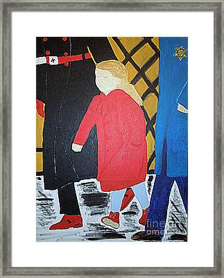 Little Jewish Girl In The Red Coat Framed Print by Richard W Linford