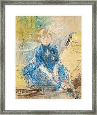 Little Girl With A Blue Jersey, 1886 Pastel On Canvas Framed Print by Berthe Morisot