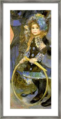 Little Girl With A Hoop Framed Print by Pierre Auguste Renoir