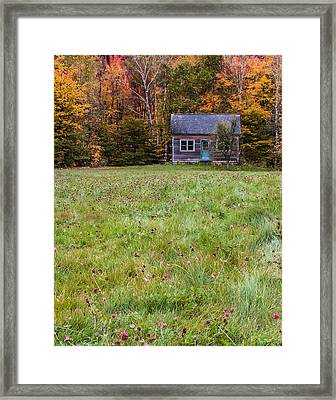 Little House At Woodlands Edge In New Hampshire Framed Print by Karen Stephenson
