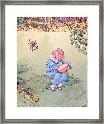 Little Miss Muffet Framed Print by Leonard Leslie Brooke