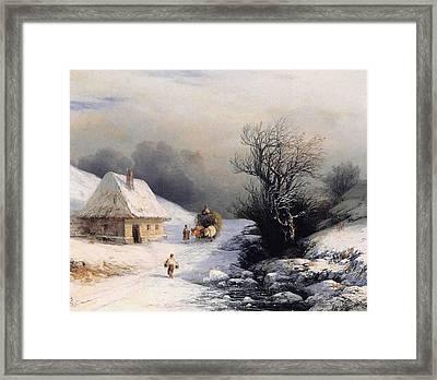 Little Ox Cart Framed Print by Ivan Aivazovsky