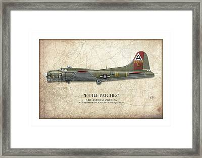 Little Patches B-17 Flying Fortress - Map Background Framed Print by Craig Tinder