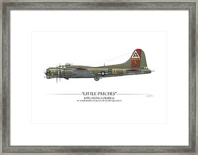 Little Patches B-17 Flying Fortress - White Background Framed Print by Craig Tinder