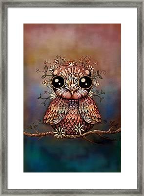 Little Rainbow Flower Owl Framed Print by Karin Taylor